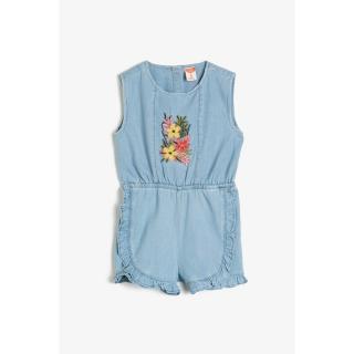 Koton Baby Blue Embroidered Jean Jumpsuit dámské biela   svetlomodrá 3-6 M