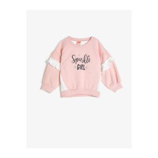 Koton Baby Pink Crew Neck Long Sleeve Ruffle Detailed Printed Sweatshirt dámské Other 18-24 M