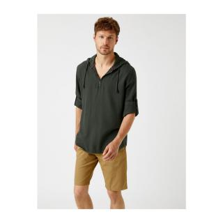 Koton Hooded Shirt Cotton Zipper Detailed pánské Other XL