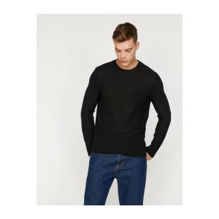 Koton Mens Black Pocket Detailed Sweater pánské Other L