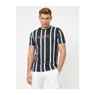 Koton Mens Black Striped Crew Neck T-Shirt pánské XL