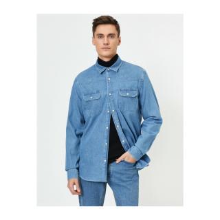 Koton Mens Blue Pocket Detailed Shirt pánské XL