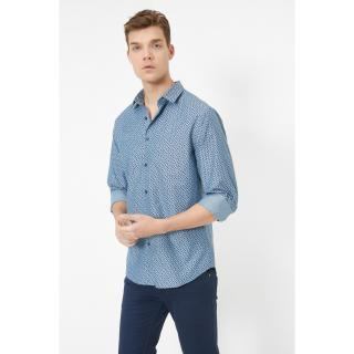 Koton Mens Classic Collar Long Sleeve Patterned Shirt pánské Other XS