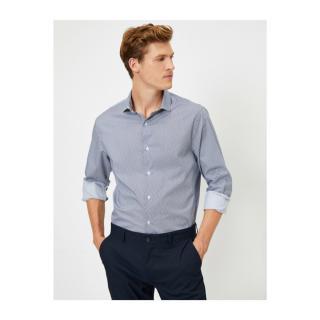 Koton Mens Cotton Poplin Patterned Shirt pánské Green S