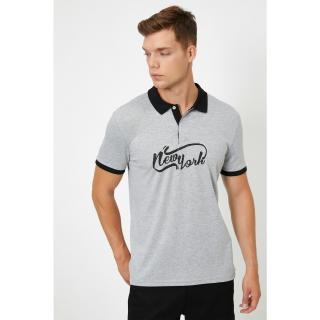 Koton Mens Gray Polo Neck Short Sleeve Printed Printed T-Shirt pánské M