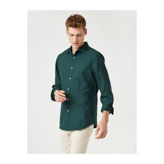 Koton Mens Green Classic Collar Long Sleeve Shirt pánské M