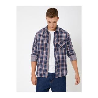 Koton Mens Navy Blue Check Shirt pánské Other M