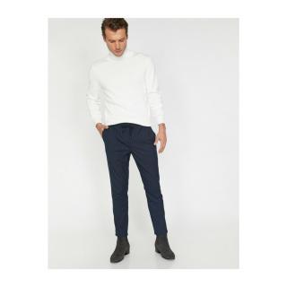 Koton Mens Navy Blue Normal Waist Slim Fit Pocket Detailed Striped Trousers pánské Other 46