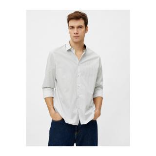 Koton Mens Striped Classic Collar Long Sleeve Cotton Shirt pánské Other M