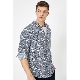 Koton Mens White Patterned Shirt pánské XL