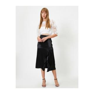 Koton Midi Skirt With High Waist Slit with Female Black Flywheel Siyah 36