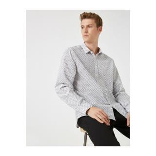 Koton Patterned Classic Collar Long Sleeve Poplin Fabric Shirt pánské Other XS