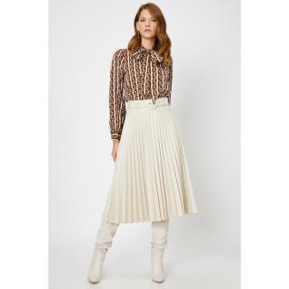 Koton Skirtly Yours Styled By Melis Agazat - Belted Pleated Midi Skirt dámské Ecru 42