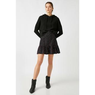 Koton Women Black 100% Cotton Floral Mini Skirt dámské 34