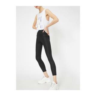 Koton Women Black Leather Look Leggings dámské M