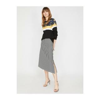 Koton Women Black Normal Waist Midi Striped Skirt dámské S