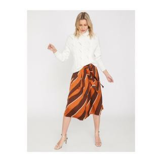 Koton Women Brown Patterned Skirt dámské biela   hnedá   oranžová   ružová 36