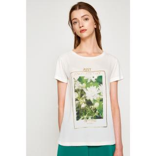 Koton Women Ecru T-Shirt dámské biela | zelená S