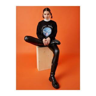 Koton Womens Black Cotton Crew Neck Printed Sweatshirt dámské čierna XS