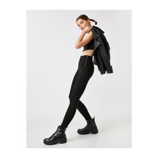 Koton Womens Black Cotton Zipper Detailed Leggings dámské Black 999 M