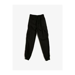 Koton Womens Black Elastic Waist Elastic Pockets Wide Trousers pánské Other 3-4 Y