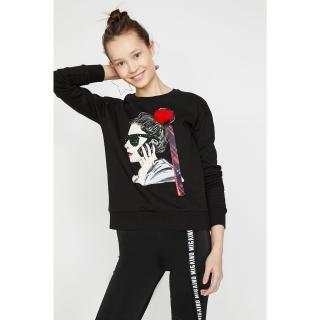 Koton Womens Black Long Sleeve Crew Neck Sweatshirt dámské Other M