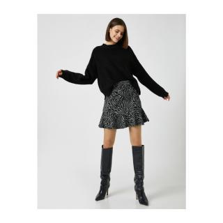 Koton Womens Black Patterned Mini Skirt dámské M