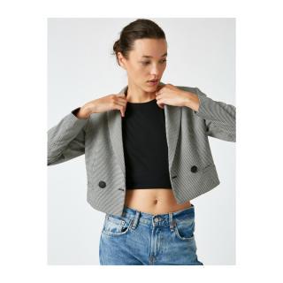 Koton Womens Black Plaid Crop Jacket dámské Other 36