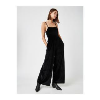 Koton Womens Black Slim Strap Velvet Jumpsuit dámské Other XL