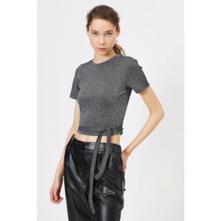 Koton Womens Black T-Shirt with Tie Waist dámské Other XL