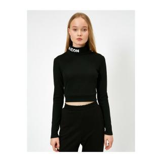 Koton Womens Black Throat Print Back Detail Long Sleeve T-shirt Siyah L