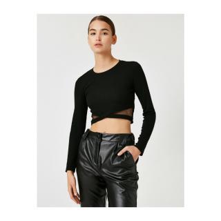 Koton Womens Black Tulle Detailed Long Sleeve Crop T-Shirt dámské Black 999 M