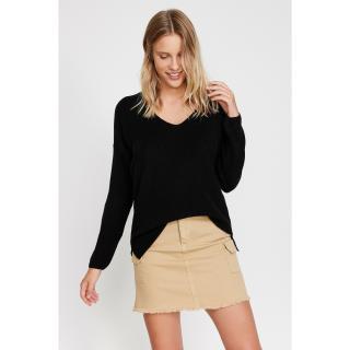 Koton Womens Black V-Neck Sweater dámské Other XS