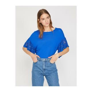 Koton Womens Blue Bat Sleeve Crew Neck T-Shirt dámské L