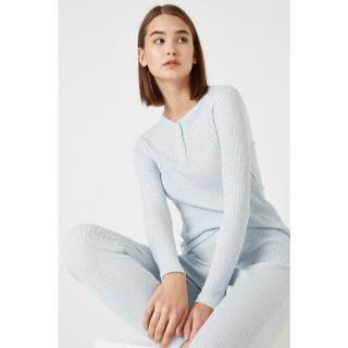 Koton Womens Blue Cotton Long Sleeve Pajama Top dámské Other S