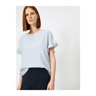 Koton Womens Blue White Striped Blouse dámské 42