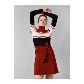 Koton Womens Brown Corduroy Belt Mini Skirt dámské Coffee 38
