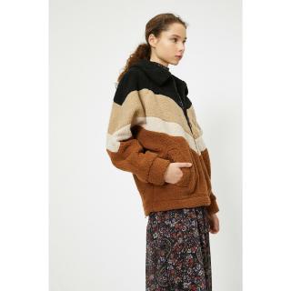 Koton Womens Brown Striped Coat dámské Other 38
