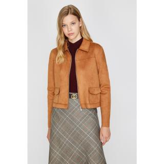 Koton Womens Brown Suede Look Coat dámské Other 36