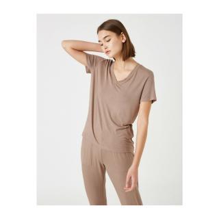 Koton Womens Brown Viscose Pajama Top dámské Other L