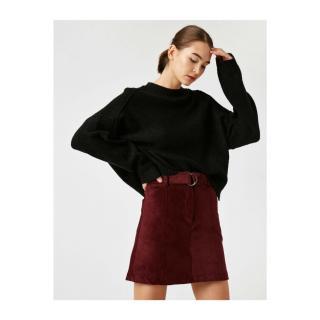Koton Womens Burgundy Cotton Corduroy Belt Mini Skirt dámské Claret Red 36