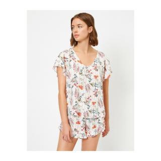 Koton Womens Ecru Floral Short Sleeve Floral Pajama Top dámské Other 36
