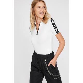Koton Womens Ecru Zipper Detailed T-Shirt dámské čierna | biela M