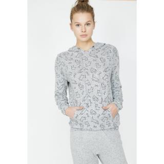 Koton Womens Gray Patterned Pajama Top dámské Other M