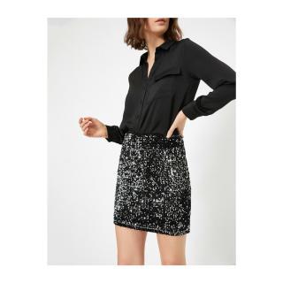 Koton Womens Gray Sequined Velvet Short Pencil Skirt dámské S