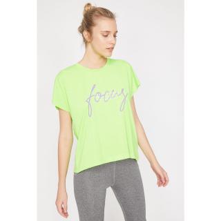 Koton Womens Green Bike Collar Short Sleeve T-Shirt dámské Yeşil M