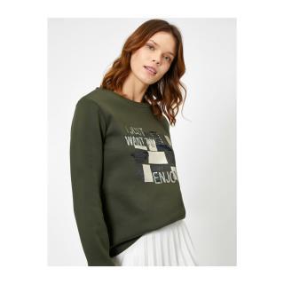 Koton Womens Green Sequin Detailed Sweatshirt dámské Other S
