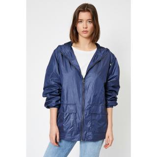 Koton Womens Navy Blue Hooded Raincoat dámské Other 42