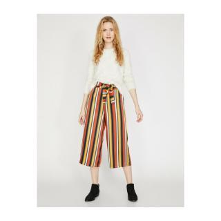 Koton Womens Orange Striped Trousers dámské Other 34