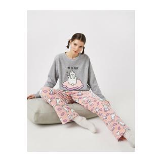 Koton Womens Pink Fleece Animal Printed Pajamas Set dámské Other XL